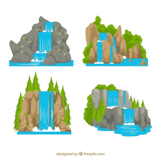 Kolekcja Wodospady W Stylu Cartoon Premium Wektorów