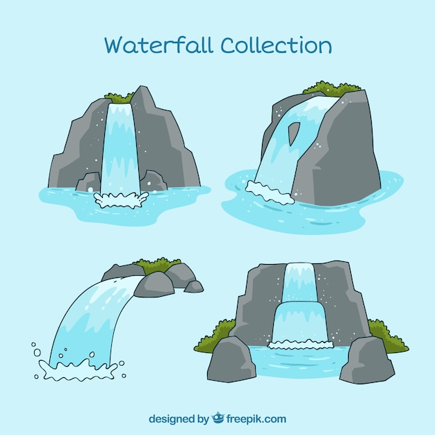 Kolekcja Wodospady W Stylu Cartoon Darmowych Wektorów