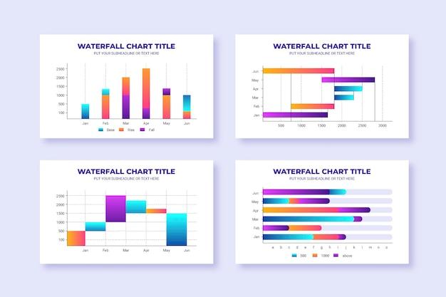 Kolekcja Wykresów Wodospadu Gradientu Premium Wektorów