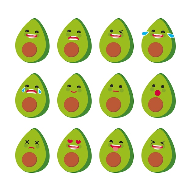 Kolekcja wyrażeń twarzy avocado Darmowych Wektorów