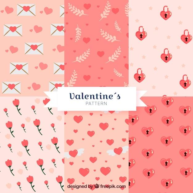 Kolekcja Wzór Płaski Walentynki Darmowych Wektorów