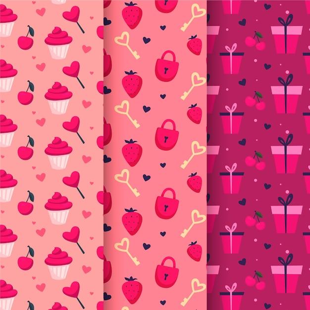 Kolekcja Wzór Walentynki W Płaskiej Konstrukcji Darmowych Wektorów