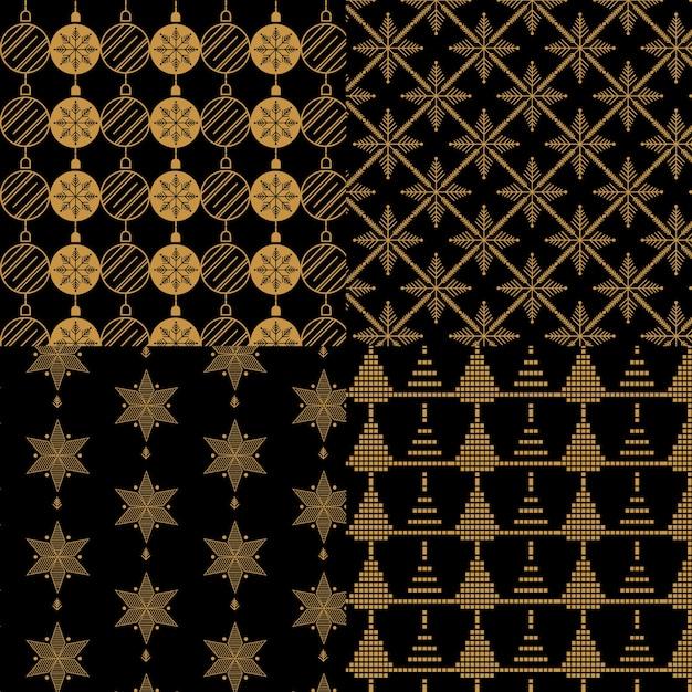 Kolekcja Wzór Złoty Boże Narodzenie Darmowych Wektorów