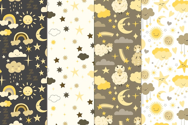 Kolekcja Wzorów Księżyca I Słońca Darmowych Wektorów
