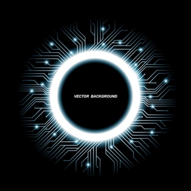 Kolekcja Wzorów Mikroczipów, Procesor. Informacyjni Technologia Komunikacyjni Elementy Z Błyskają, Błękitne Luminescencyjne Obwód Płytki W Formie Okręgu, Ilustracja Premium Wektorów