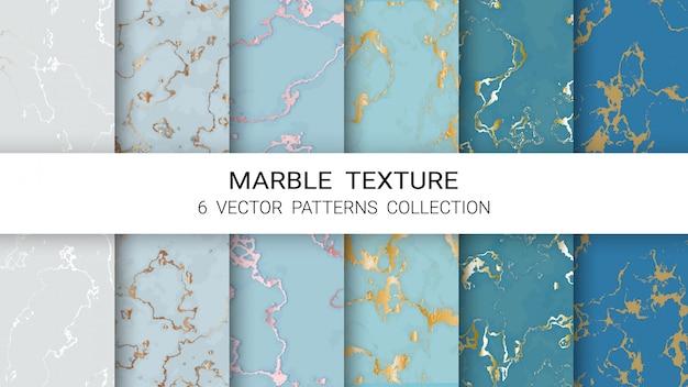 Kolekcja wzorów tekstury marmuru Premium Wektorów