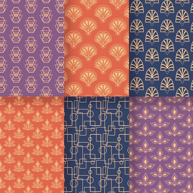 Kolekcja Wzorów W Stylu Art Deco Darmowych Wektorów
