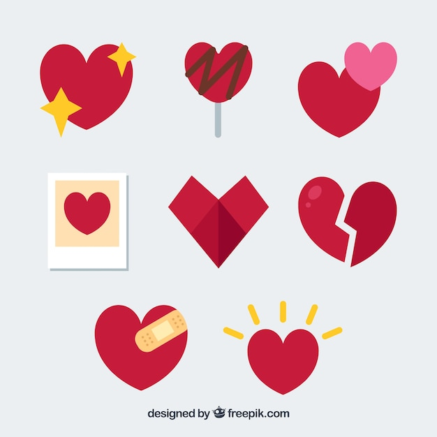 Kolekcja Z Płaskim Sercem Darmowych Wektorów