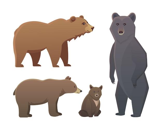 Kolekcja Z Różnych Niedźwiedzi Kreskówka Na Białym Tle. Broun I Czarny Niedźwiedź Amerykański. Ustaw Grizzly Wildlife Lub Zoo. Premium Wektorów
