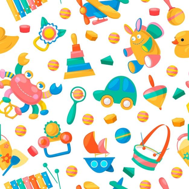Kolekcja zabawek dla niemowląt wzór Premium Wektorów