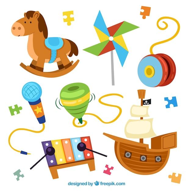 Kolekcja Zabawek Kolor Premium Wektorów