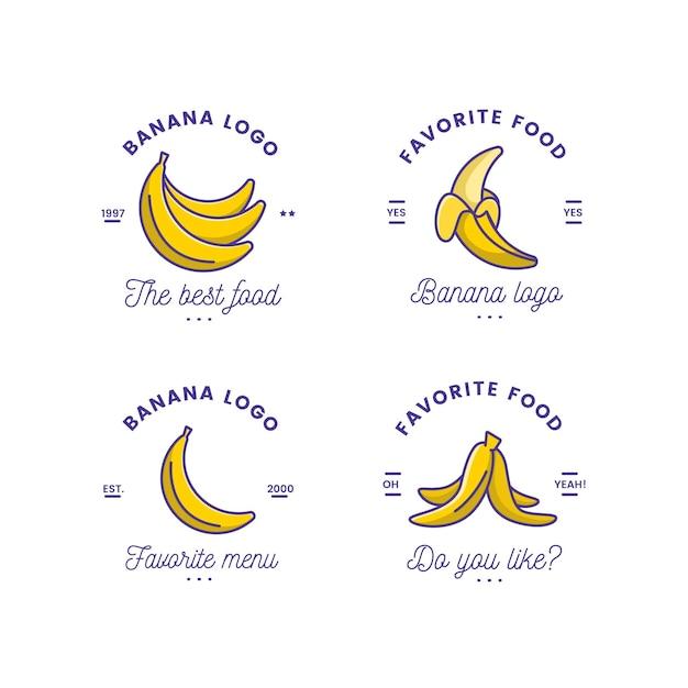 Kolekcja Zabawnego Szablonu Logo Banana Darmowych Wektorów