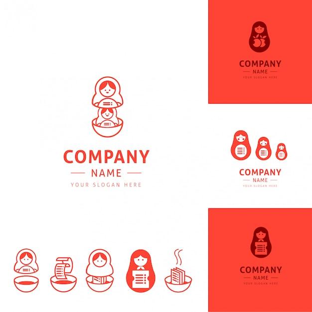 Kolekcja zabawnych logotypów kuchennych inspirowanych lalkami matrioszki Premium Wektorów