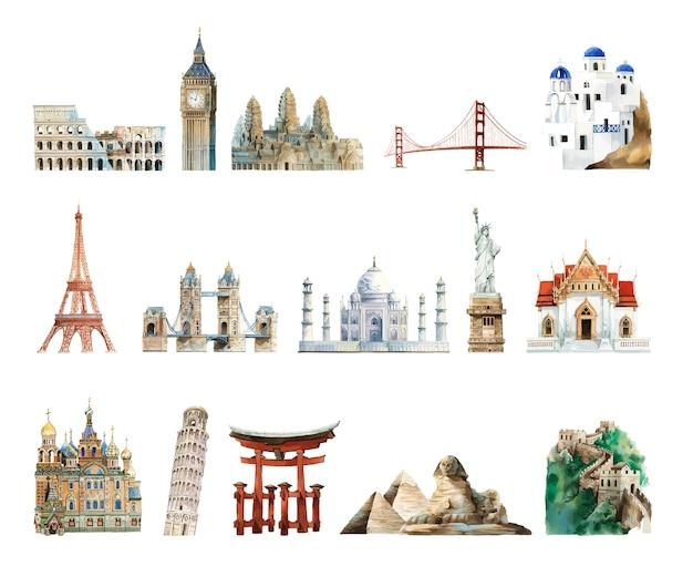 Kolekcja zabytków architektonicznych namalowanych akwarelą Darmowych Wektorów