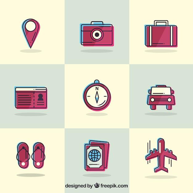 Kolekcja Zabytkowe Elementy Podróży Darmowych Wektorów