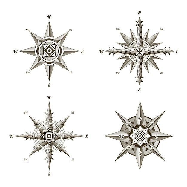 Kolekcja żeglarskich Zabytkowych Znaków Kompasu. Premium Wektorów
