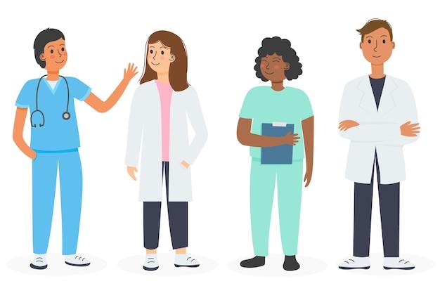 Kolekcja Zespołu Pracowników Służby Zdrowia Darmowych Wektorów