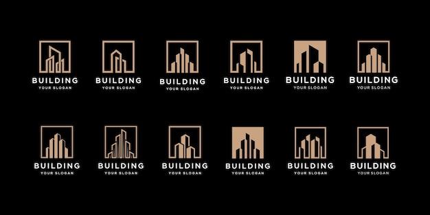 Kolekcja Zestawów Architektury Budynku, Symbole Projektowania Logo Nieruchomości Premium Wektorów