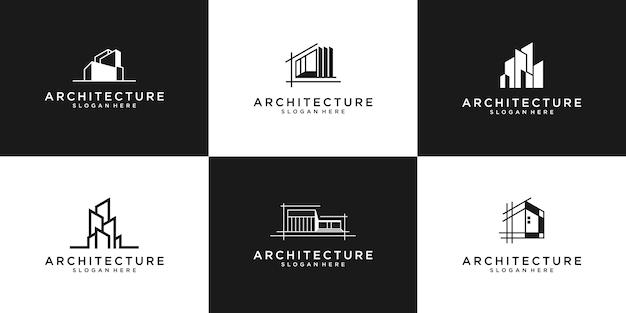 Kolekcja Zestawów Architektury Budynku, Symbole Projektu Logo Nieruchomości. Premium Wektorów
