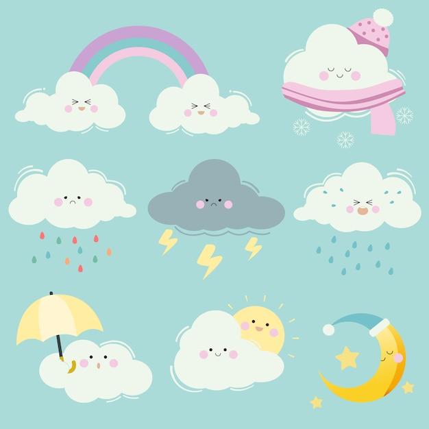 Kolekcja zestawu chmur kreskówek. charakter uroczej białej chmury z wieloma emocjami. chmura ze słońcem i księżycem, gwiazdą, tęczą i parasolem. postać uroczej chmury w stylu płaskiej Premium Wektorów
