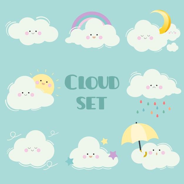 Kolekcja zestawu chmur kreskówek. charakter uroczej białej chmury z wieloma emocjami. chmura ze słońcem i księżycem, gwiazdą, tęczą i parasolem Premium Wektorów