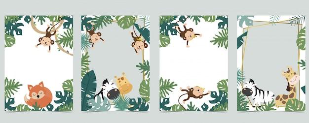 Kolekcja Zielonych Zwierząt Z Safari Ramki Z Lwem, Lisem, żyrafą, Zebrą, Małpą Premium Wektorów