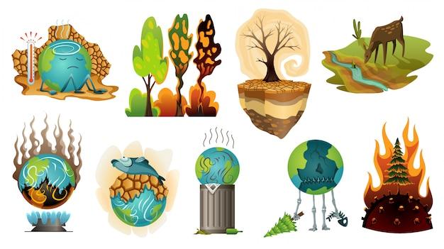 Kolekcja Ziemska Globalne Ocieplenie Ilustracja. Ostrzeżenie Ekologiczne Plakaty. Pojęcie Globalnej Planety Suszy Ikony. Słabo Globu Postaci Z Kreskówek Ziemi Premium Wektorów