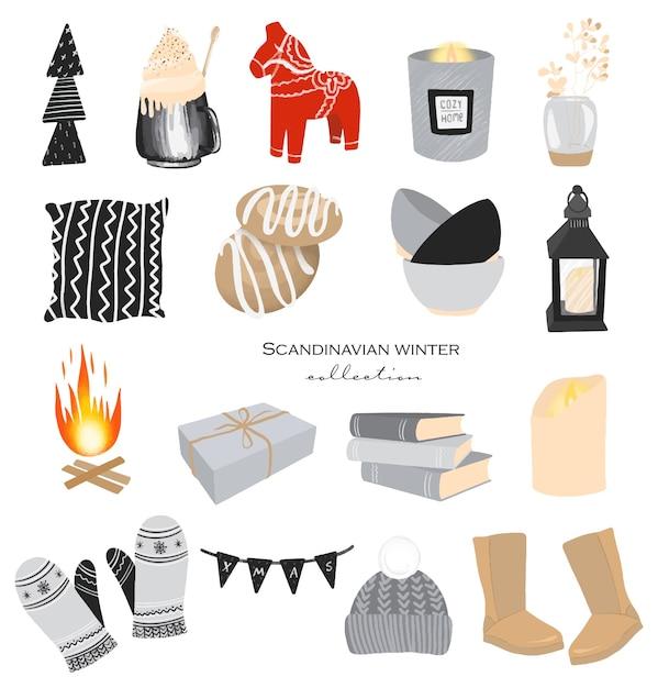 Kolekcja Zimowych Elementów Przytulnych Do Domu W Skandynawskim Stylu Hygge Premium Wektorów