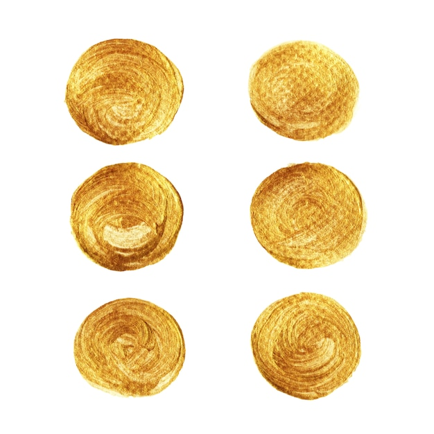 Kolekcja złota koło złota na białym tle Premium Wektorów