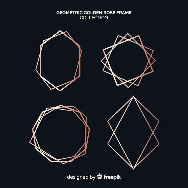 Kolekcja Złota Rama Geometryczna Złota Darmowych Wektorów