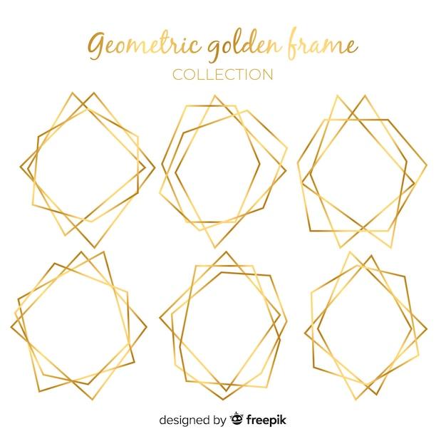 Kolekcja złote geometryczne ramki Darmowych Wektorów