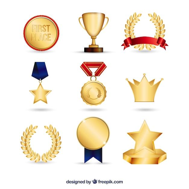 Kolekcja Złote Nagrody Premium Wektorów