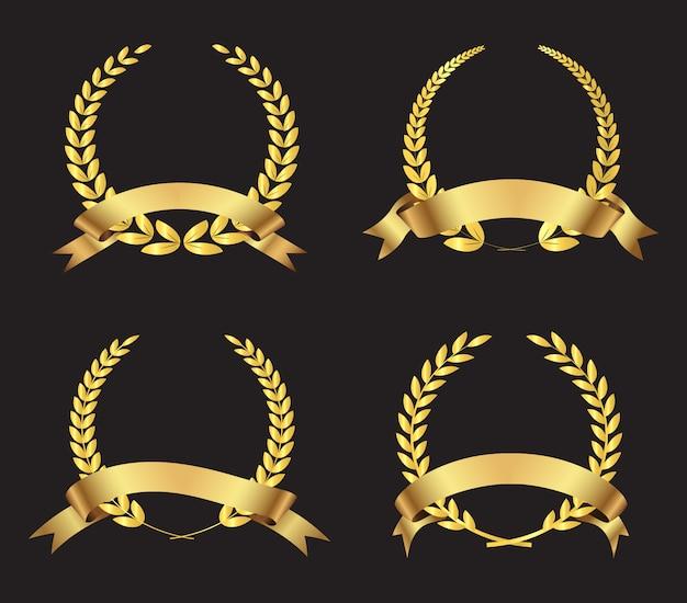 Kolekcja złote wieńce Darmowych Wektorów