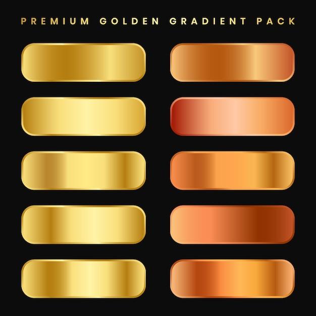 Kolekcja Złotego Metalu Gradientu I Zestaw Tekstur Złotej Folii Premium Wektorów
