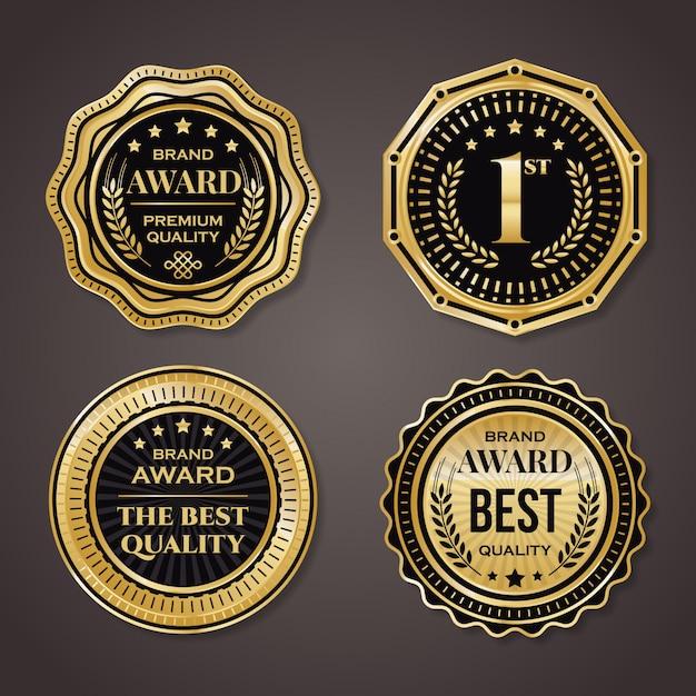 Kolekcja Złotej Odznaki. Elegancki Czarny I Złoty Premium Wektorów