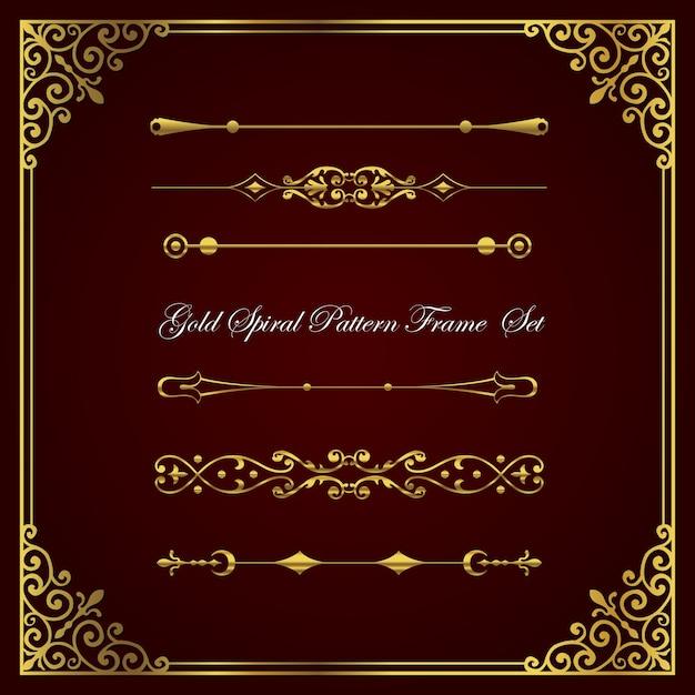 Kolekcja Złotej Spirali I Obramowania. Premium Wektorów