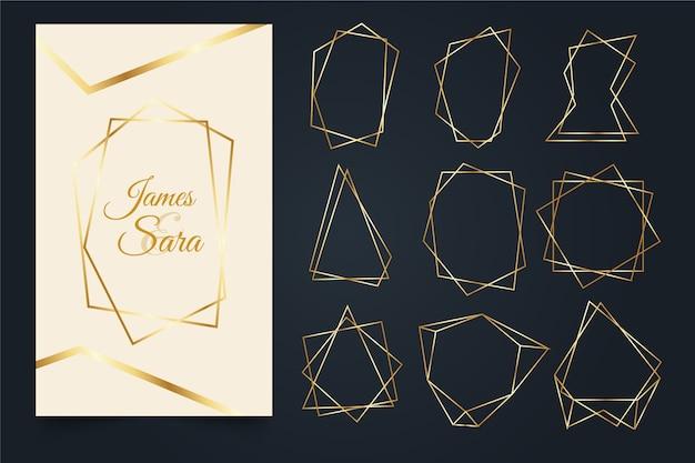 Kolekcja złotej wielokąta ramki Darmowych Wektorów