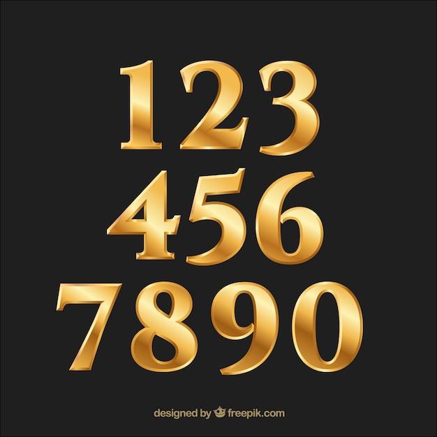 Kolekcja Złoty Gradient Liczby Premium Wektorów