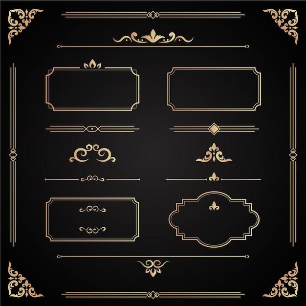 Kolekcja Złoty Ornament Kaligraficzny Darmowych Wektorów