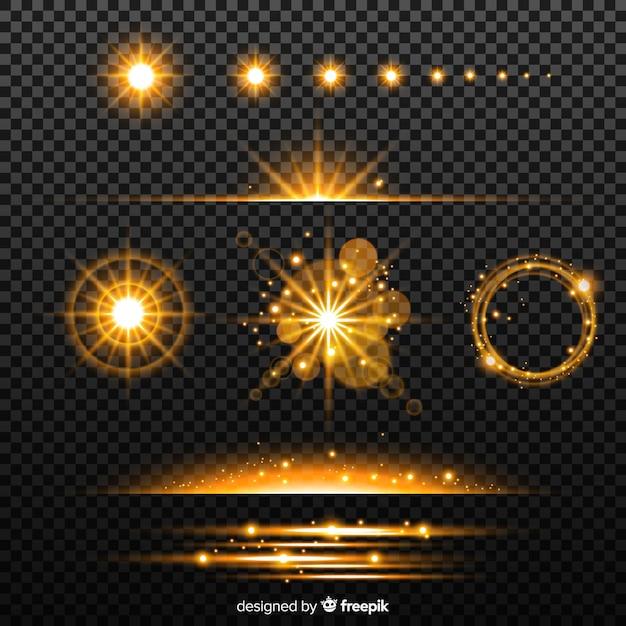 Kolekcja Złotych Efektów świetlnych Darmowych Wektorów
