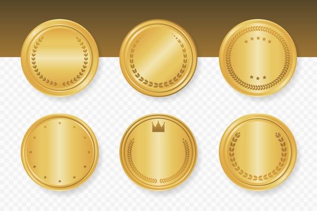 Kolekcja Złotych Luksusowych Okrągłych Ramek. Ilustracji Wektorowych. Premium Wektorów