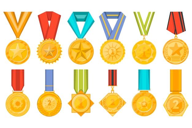 Kolekcja złotych medali z zestawem wstążek Premium Wektorów