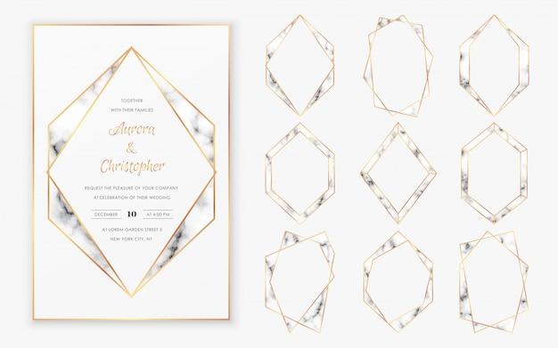 Kolekcja Złotych Wielokątnych Ram Kryształowych O Modnej Fakturze Marmurowej. Premium Wektorów