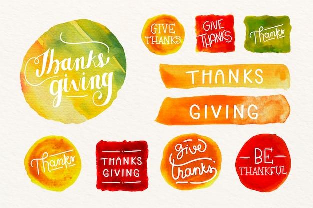Kolekcja Znaczek Akwarela Dziękczynienia Darmowych Wektorów