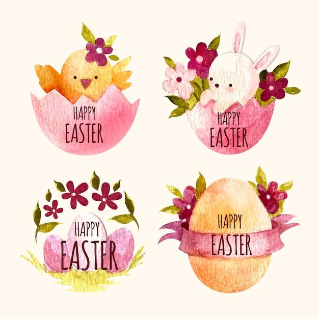Kolekcja Znaczek Akwarela Wielkanoc Darmowych Wektorów