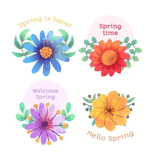 Kolekcja Znaczek Wiosna Akwarela Darmowych Wektorów