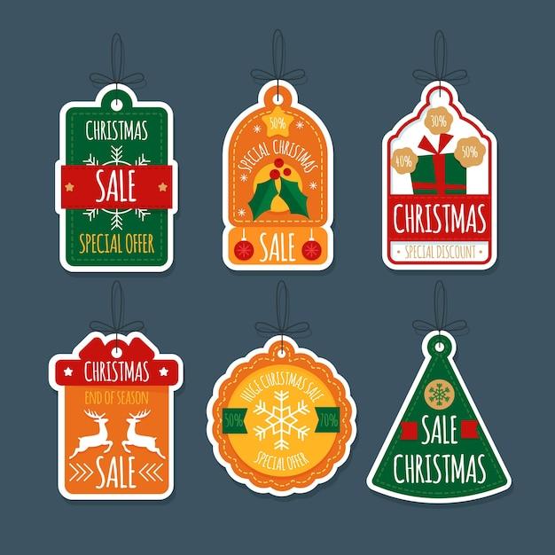 Kolekcja znaczków świątecznych sprzedaży płaska konstrukcja Darmowych Wektorów