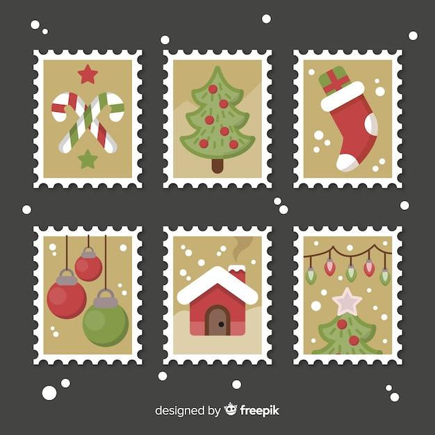 Kolekcja znaczków świątecznych Darmowych Wektorów