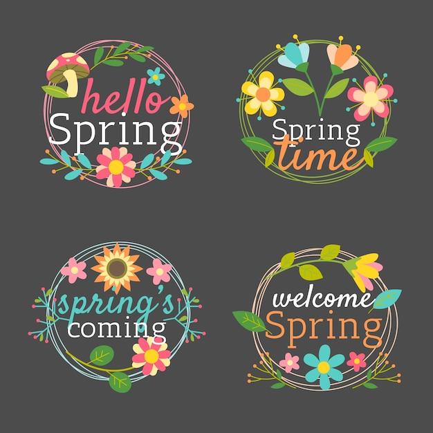 Kolekcja Znaczków Wiosennych Z Ramą Z Liści I Kwiatów Darmowych Wektorów