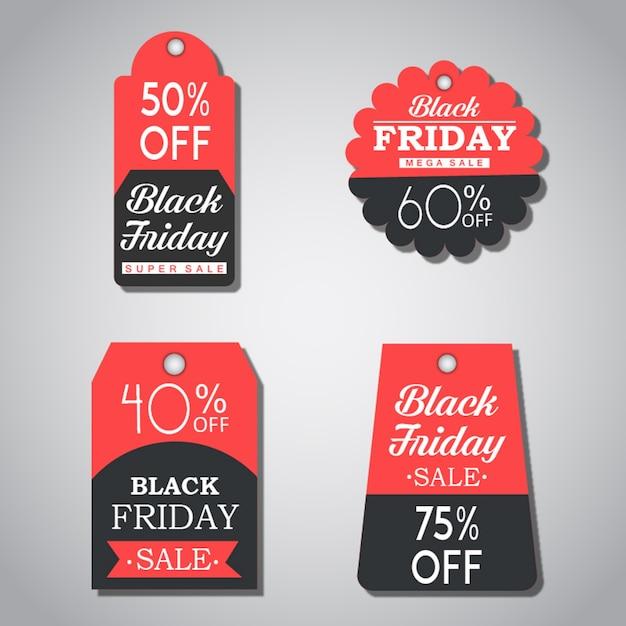 Kolekcja Znaczników Sprzedaży W Czarny Piątek Premium Wektorów